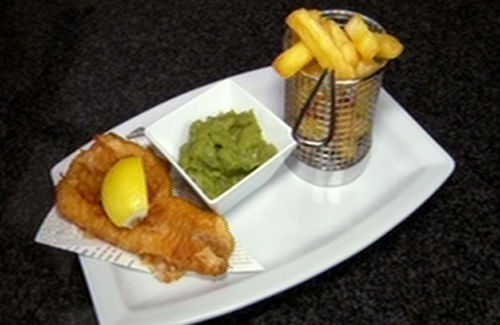 Fish and chips with mushy peas recipe