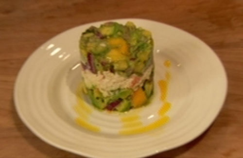 Prawn and crab timbale with avocado salsa recipe