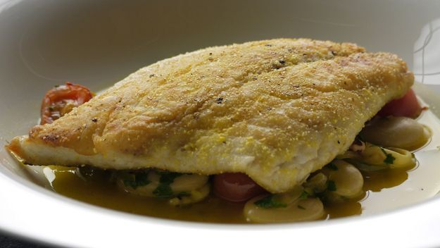 Sea bream with bean stew recipe