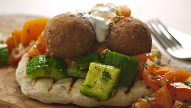 Spiced koftas with mini flatbreads recipe
