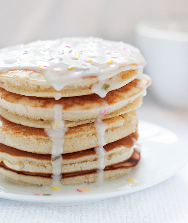 Iced Birthday Cake Pancakes Recipe