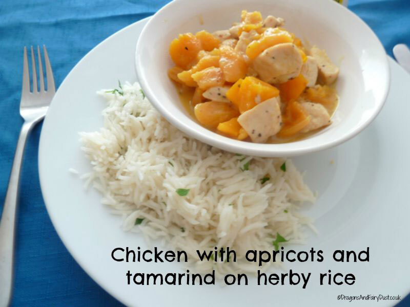 Chicken with apricots and tamarind on herby rice