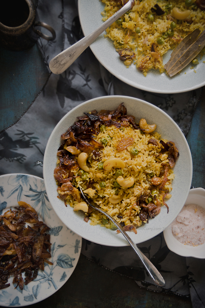 Bengali Mishti Pulao: Bengali Style Pilaf with Cashews and Raisins