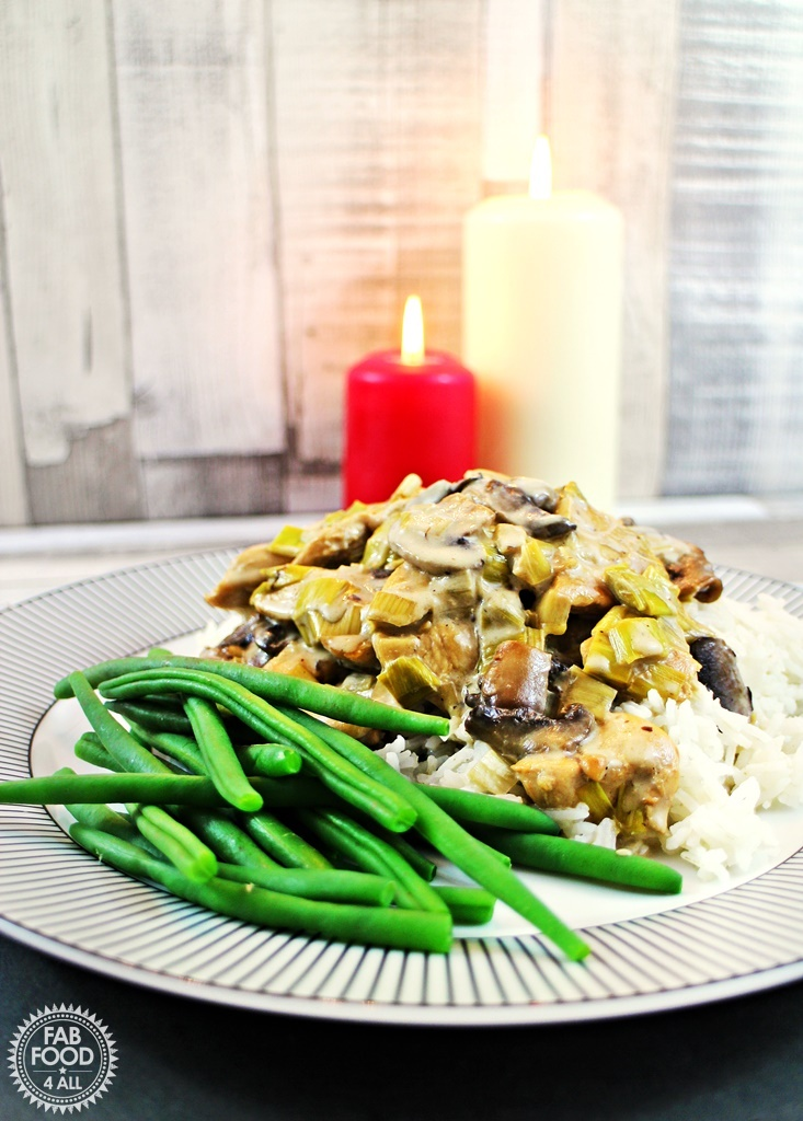 Chicken, Mushroom & Leeks in a Cream & White Wine Sauce