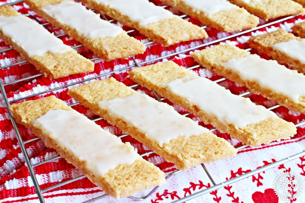 Danish Fedtebrød – Coconut Cookie Slices with Rum Glaze