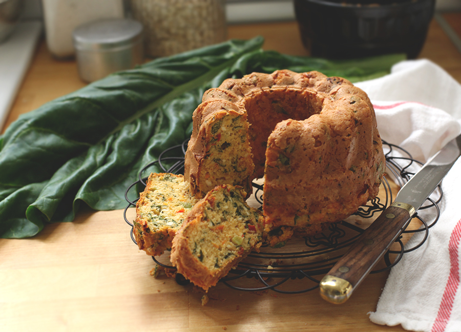 Savoury Cake with Cottage Cheese, Chard & Half Dried Tomatoes