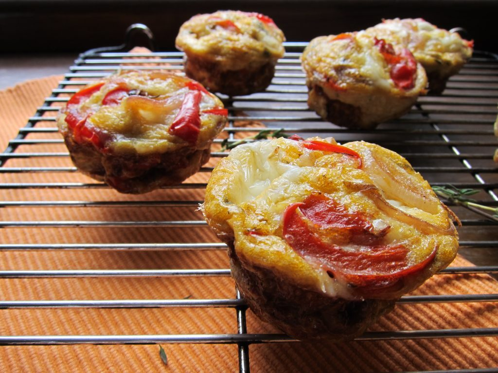 Mini Goats Cheese Frittata with Roasted Red Pepper and Onion
