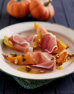 RECIPE: Parma Ham wrapped Honey Roasted Halloween Pumpkin Wedges with crunchy Chilli Pumpkin Seeds