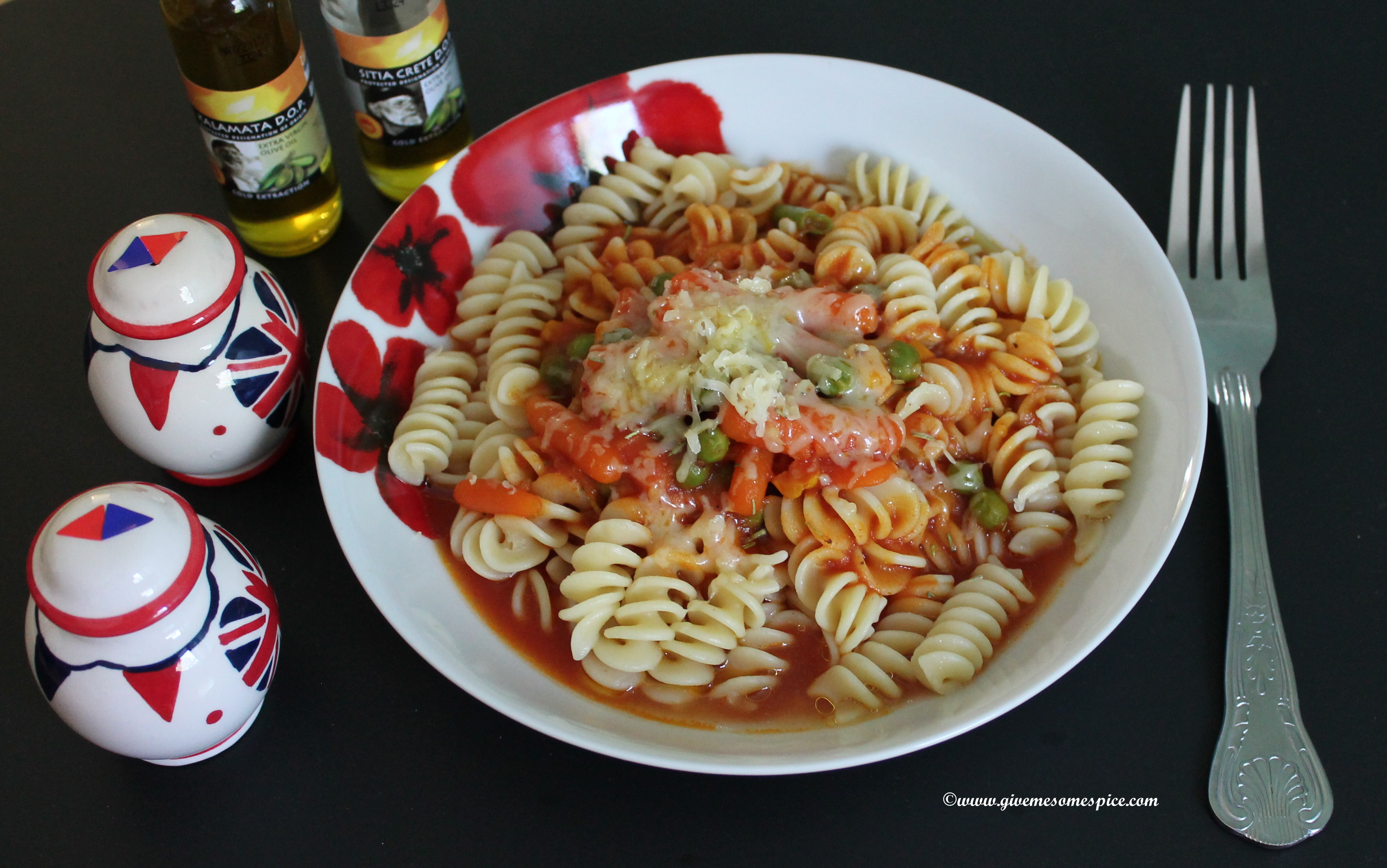 Fusilli Pasta made with Indian Spices