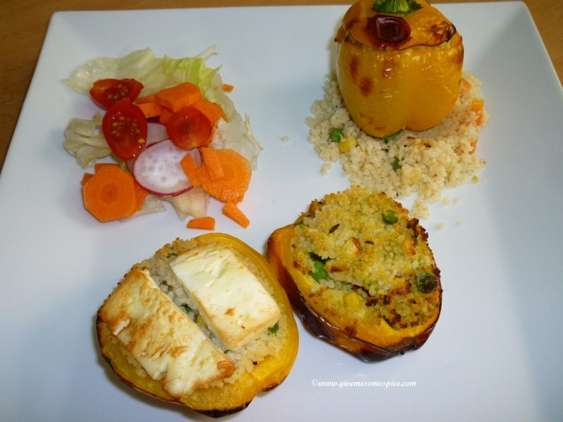 Stuffed peppers with couscous and feta cheese