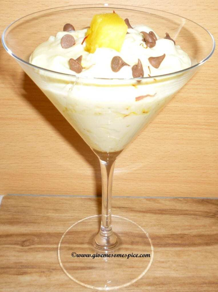 Pineapple Shrikand (Sweet dish made with Yogurt and Pineapple)