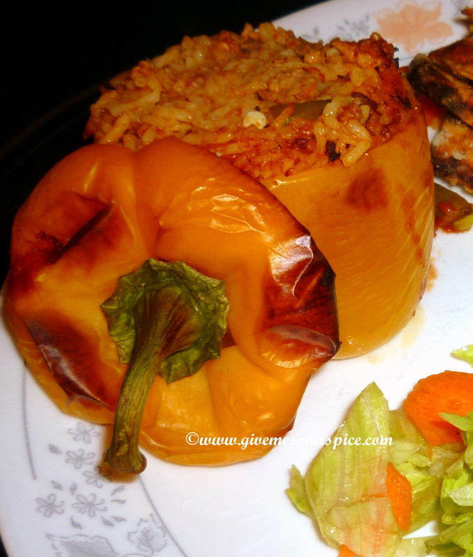 Spicy Rice Stuffed peppers with sweet potato wedges