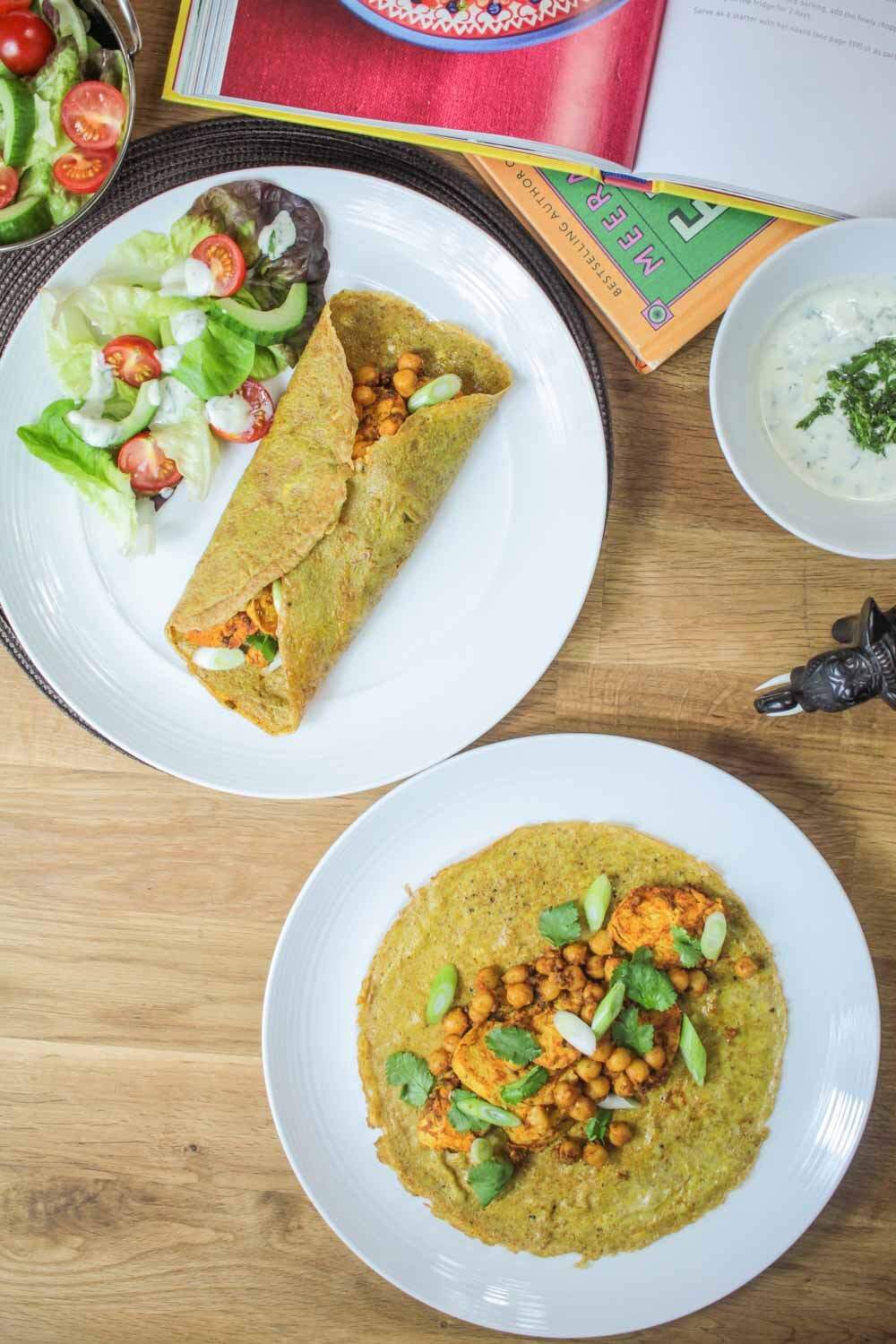 Indian Spiced Chicken and Chickpea Omelette Wrap