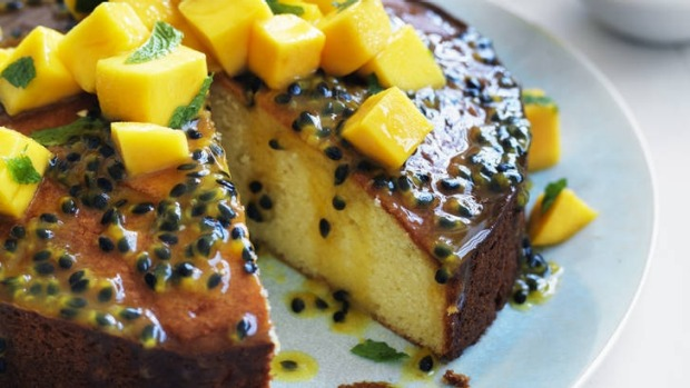 Passionfruit syrup cake with mango salsa