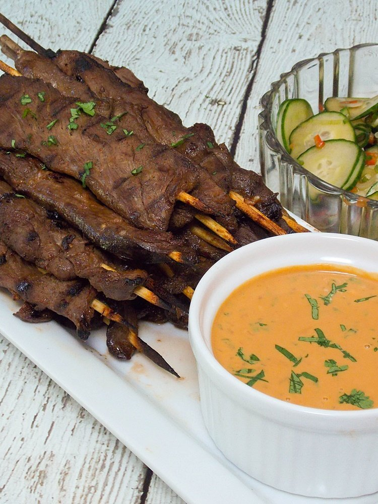 Venison Skewers with Peanut Sauce #SundaySupper