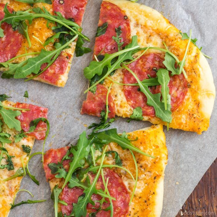 Salami Pizza with Cheese and Arugula