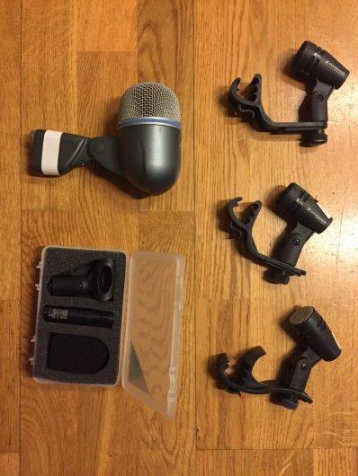 mikrofoner, Shure Beta52, sennheiser e604, line audio cm3, audix i5