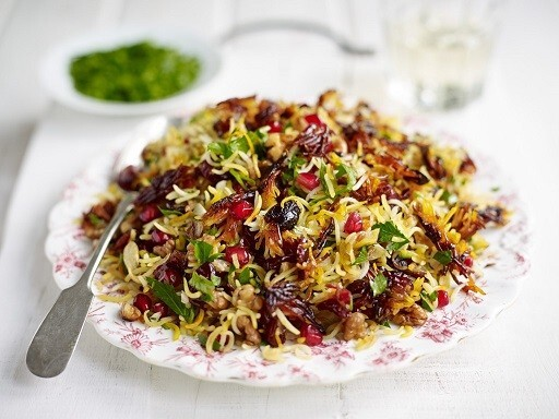 PERSIAN RICE WITH POMEGRANATES, WALNUT AND PARSLEY