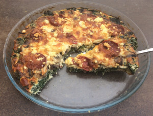 Mushroom, Spinach, Chorizo and Feta Crustless Quiche