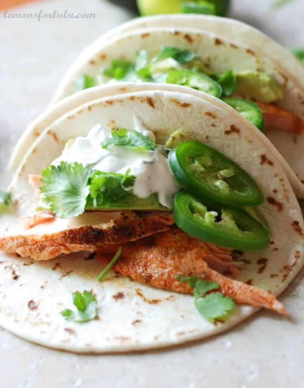 Salmon Fish Tacos with Jalapeno Cream