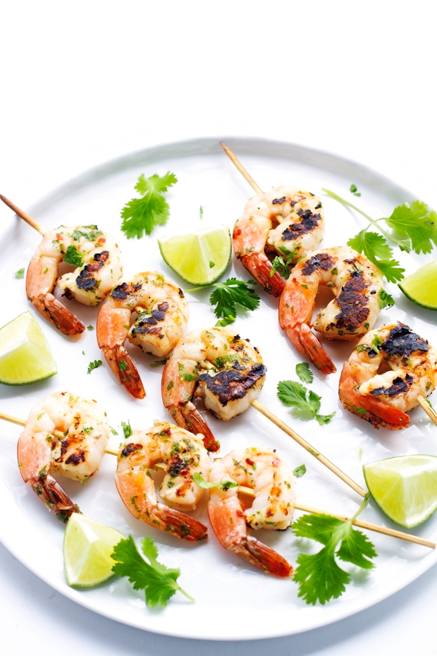 Grilled Cilantro Lime Shrimp Skewers