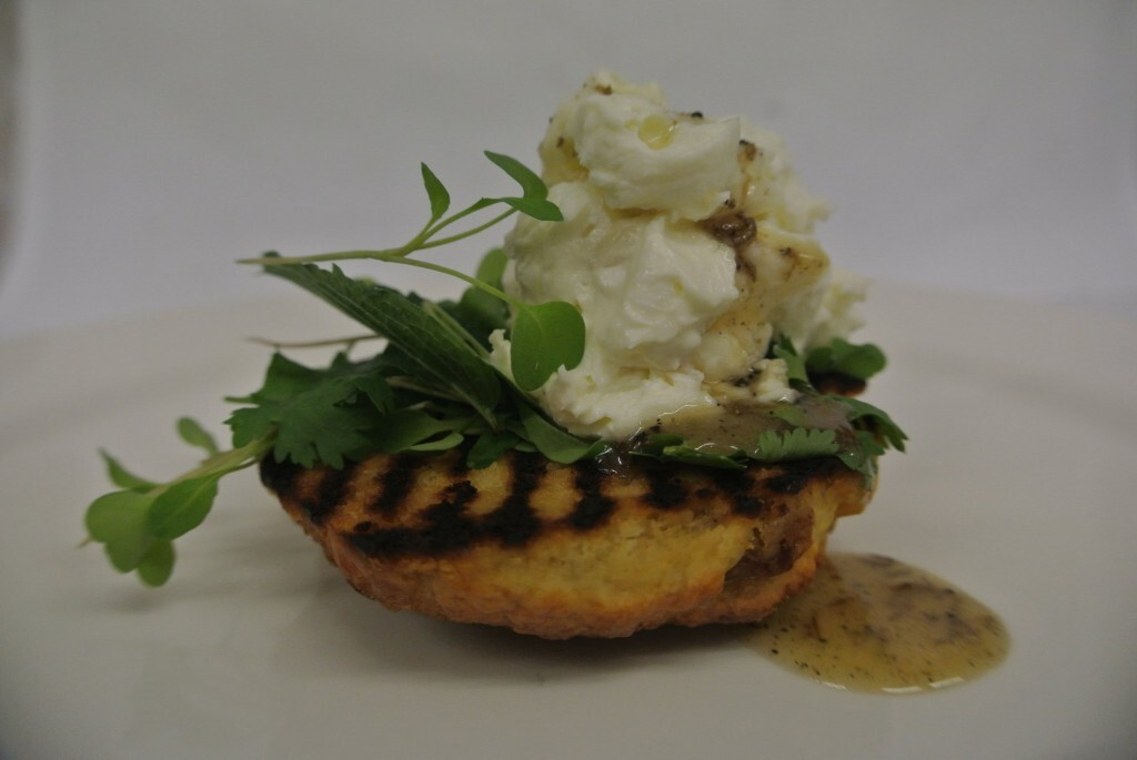 Recipe for Toasted Tea Cake with Whipped Goat's Cheese & Heather Honey with Truffle