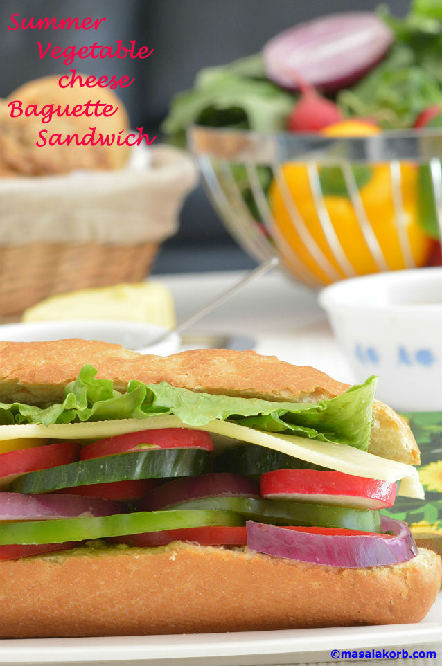 Summer Vegetable Cheese Baguette Sandwich