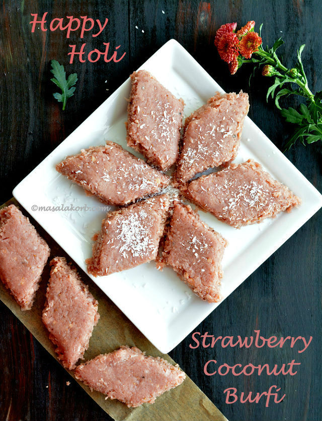 Strawberry Coconut Burfi With Khoya | Strawberry Coconut Fudge | Holi Recipes