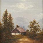 Oljemålning Landskap med hus