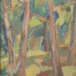 Oljemålning Carl Berndsson, träd, 33x22