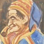 Akvarell Alvar Outakka (1897-1951)
