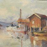Oljemålning signerad. Fiskeläge, 64x100