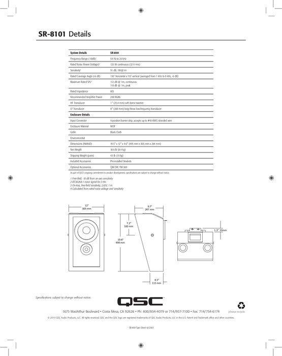 QSC SR-8101 Bio surround högtalare