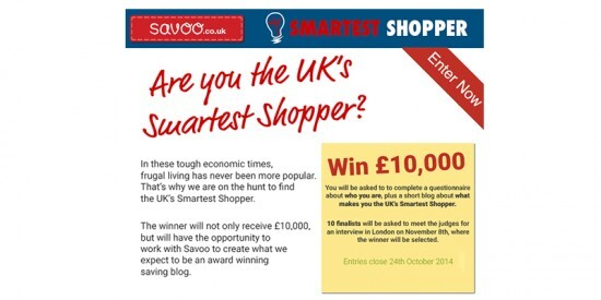 Win £10,000 in the Savoo Smartest Shopper Competition 2014
