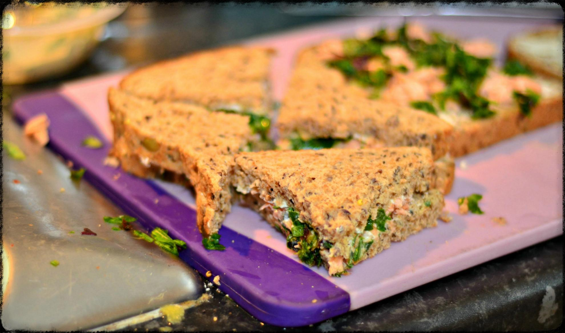 Salmon, cream cheese and seasonal leaves sandwich recipe, as part of Organix No Junk Lunchbox Challenge