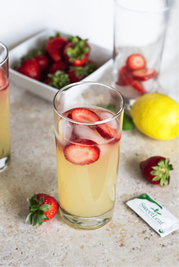 Stevia Sweetened Strawberry Lemonade