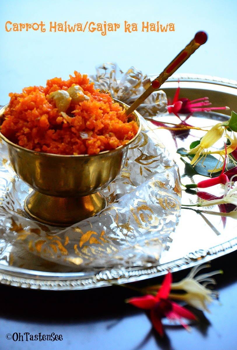 Celebrating 500 Posts with a Cookbook Giveaway and Carrot Halwa/Gajar ka Halwa