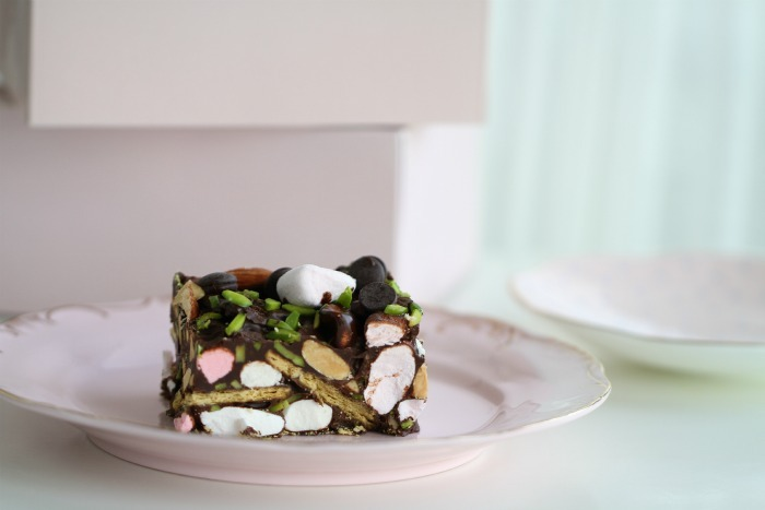 Chocolate Crunch Cake, with Marshmallows and pistachios