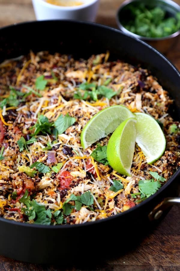 One Pot Quinoa Enchilada (with Shredded Chicken)