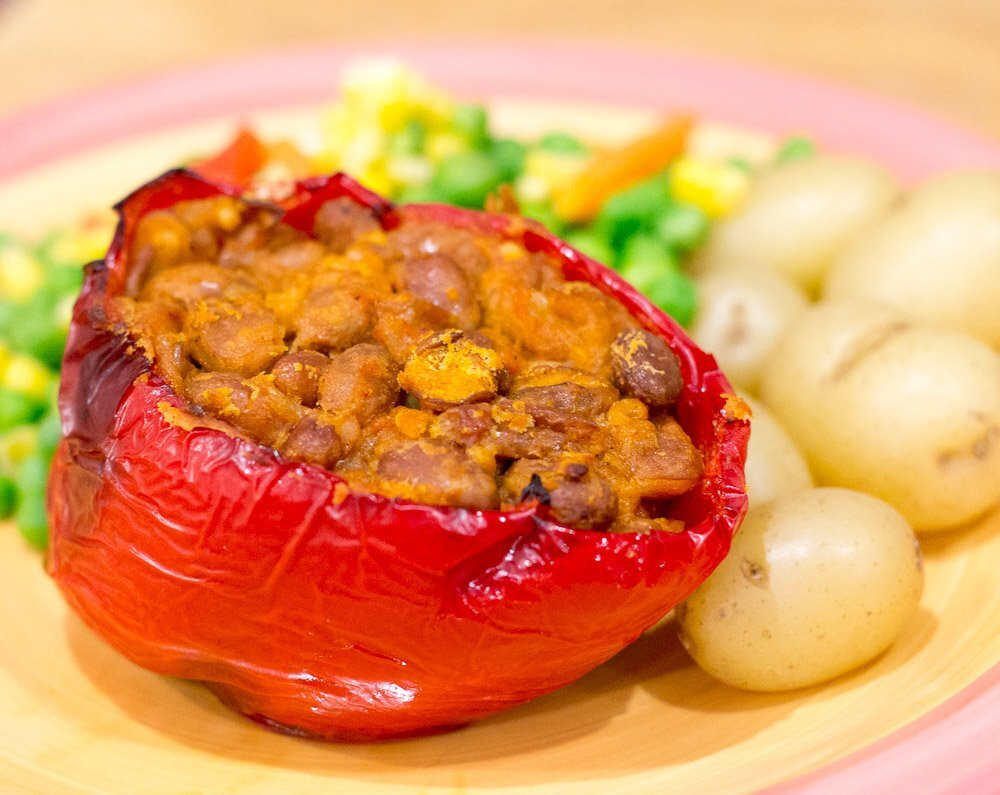 Vegan Pinto Bean Stuffed Peppers Recipe