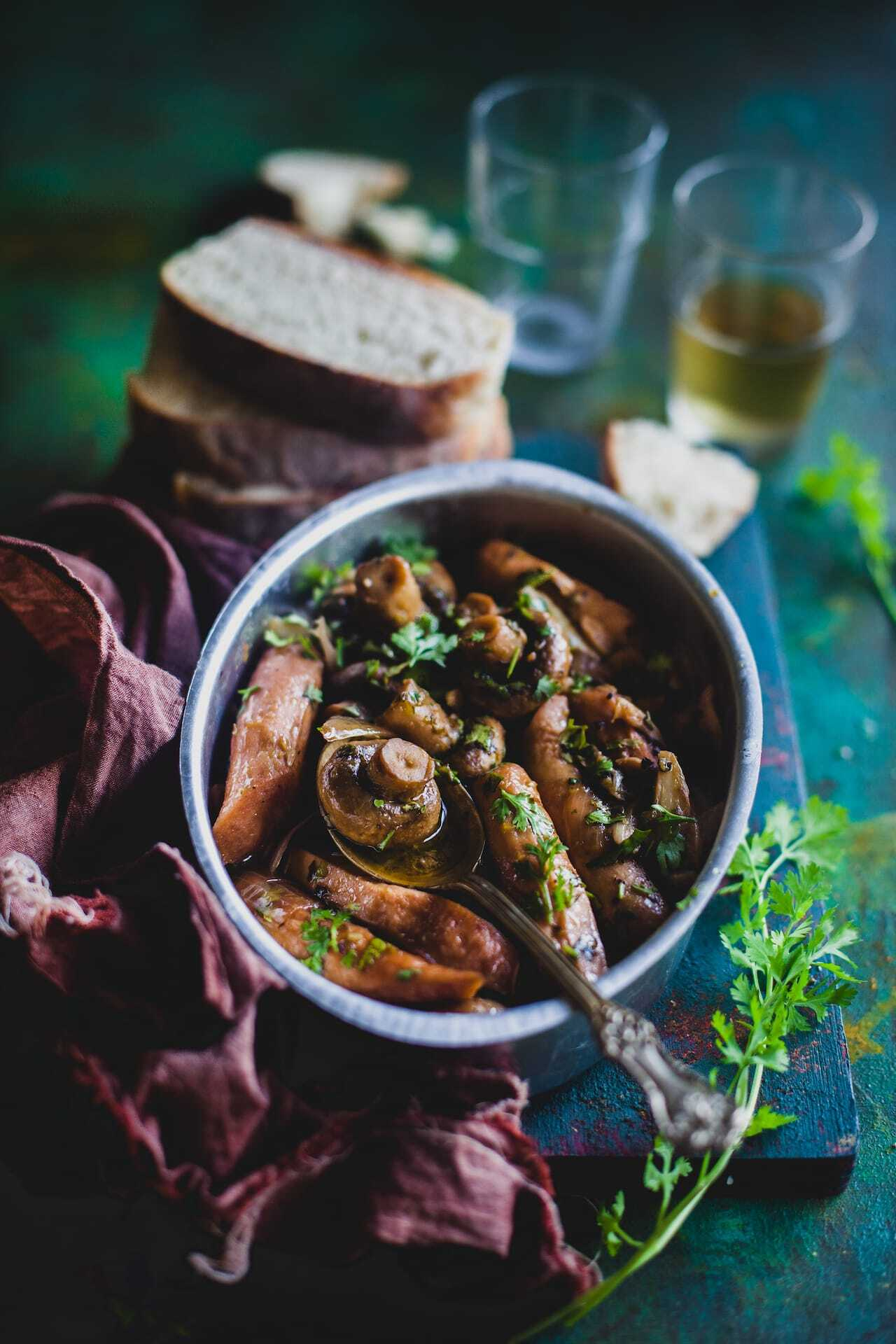 Mushroom And Sausage In Garlic Wine Sauce