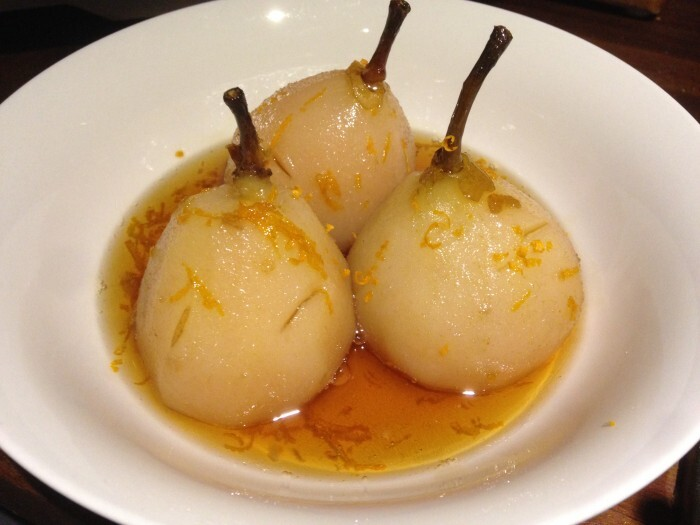 vanilla poached pears with orange caramel syrup