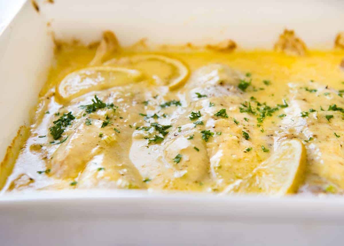 Baked Fish with Lemon Cream Sauce (One Baking Dish!)