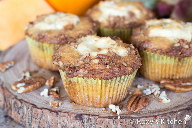 Pumpkin Muffins with Cream Cheese Filling and Cinnamon Pecan Topping