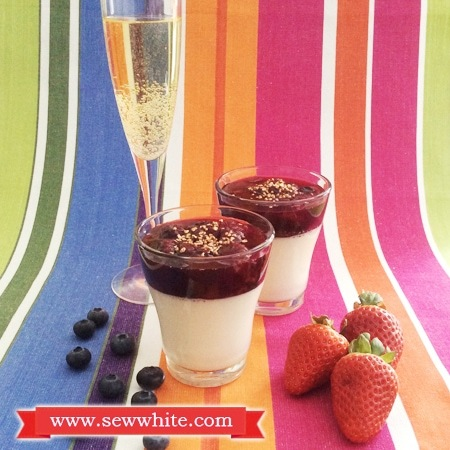 Vanilla panna cotta with strawberry, blueberry and champagne compote