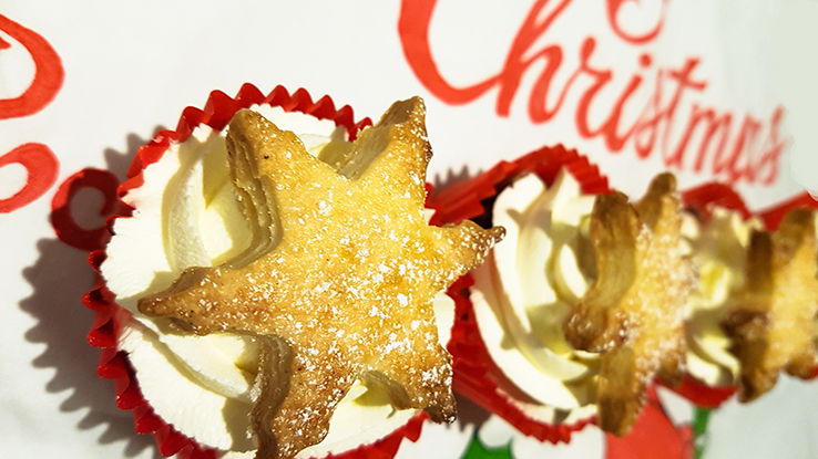 Mince pie cupcakes with a fresh cream and brandy frosting