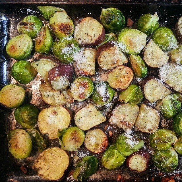 Parmesan roasted brussels sprouts and sweet potato
