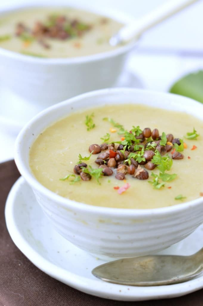 Leek potato Soup with French Lentils