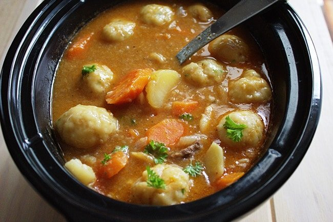Slow Cooker Beef Stew & Herb Dumplings