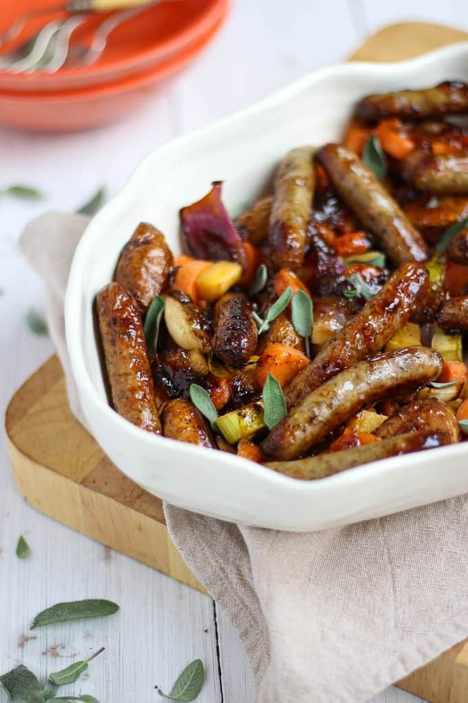 Marmalade Sticky Sausages One Pan Traybake